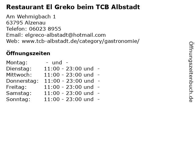 Restaurant El Greko beim TCB Albstadt in Alzenau: Adresse und Öffnungszeiten