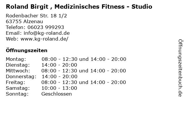 Roland Birgit , Medizinisches Fitness - Studio in Alzenau: Adresse und Öffnungszeiten