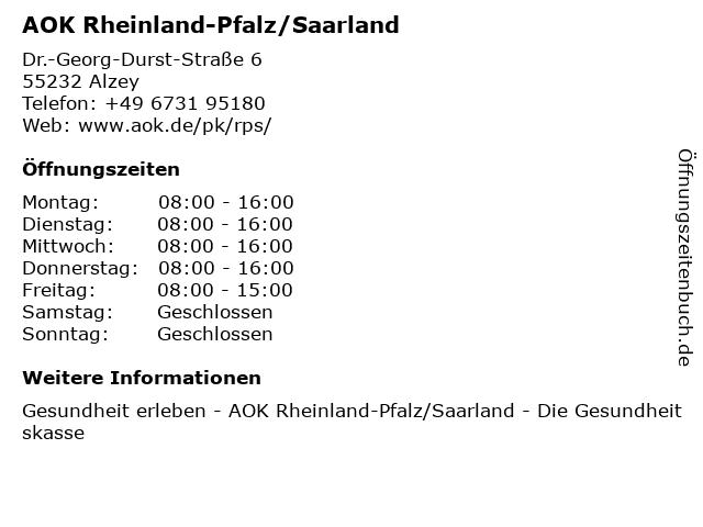 AOK Rheinland-Pfalz/Saarland in Alzey: Adresse und Öffnungszeiten