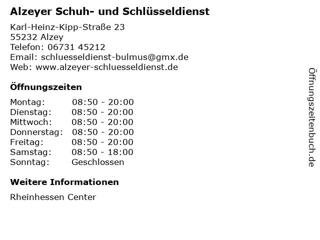 Alzeyer Schuh- und Schlüsseldienst in Alzey: Adresse und Öffnungszeiten