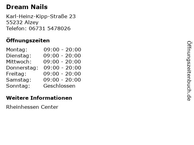 Dream Nails in Alzey: Adresse und Öffnungszeiten