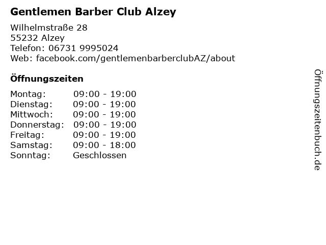 Gentlemen Barber Club Alzey in Alzey: Adresse und Öffnungszeiten