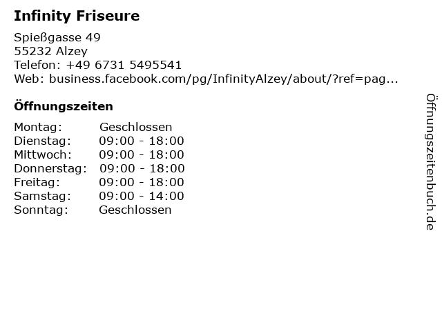 Infinity Friseure in Alzey: Adresse und Öffnungszeiten