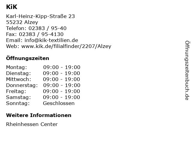 KiK Textilien und Non-Food GmbH in Alzey: Adresse und Öffnungszeiten