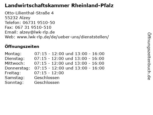Landwirtschaftskammer Rheinland-Pfalz in Alzey: Adresse und Öffnungszeiten