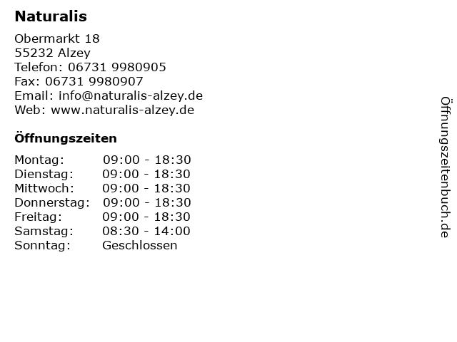 Naturalis in Alzey: Adresse und Öffnungszeiten