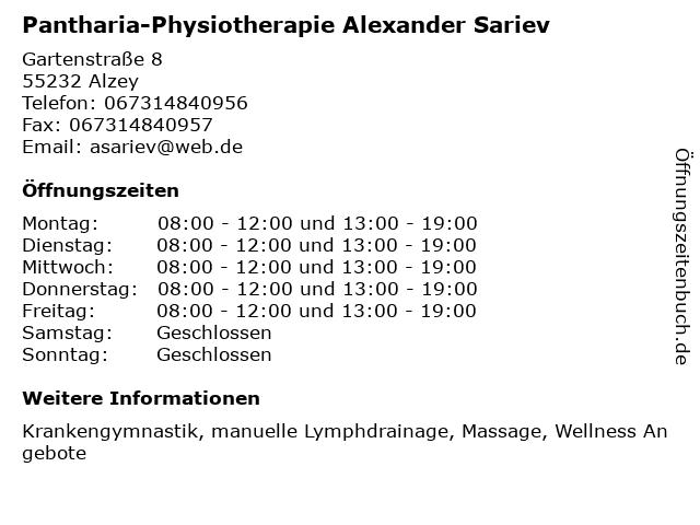 Pantharia-Physiotherapie Alexander Sariev in Alzey: Adresse und Öffnungszeiten