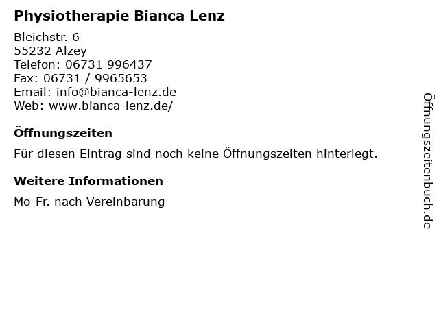 Physiotherapie Bianca Lenz in Alzey: Adresse und Öffnungszeiten