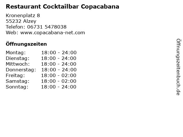 Restaurant Cocktailbar Copacabana in Alzey: Adresse und Öffnungszeiten