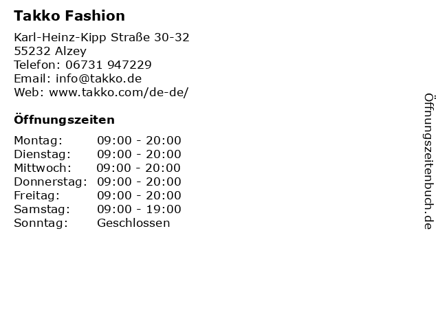 Takko Fashion in Alzey: Adresse und Öffnungszeiten
