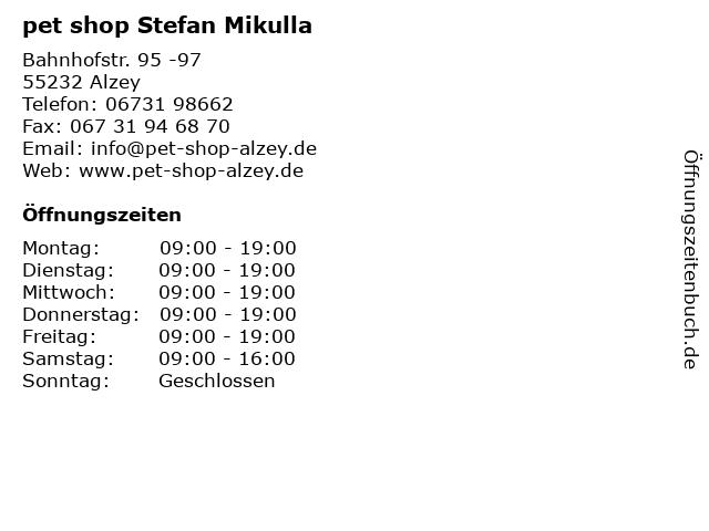 ᐅ Offnungszeiten Pet Shop Stefan Mikulla Bahnhofstr 95 97 In Alzey