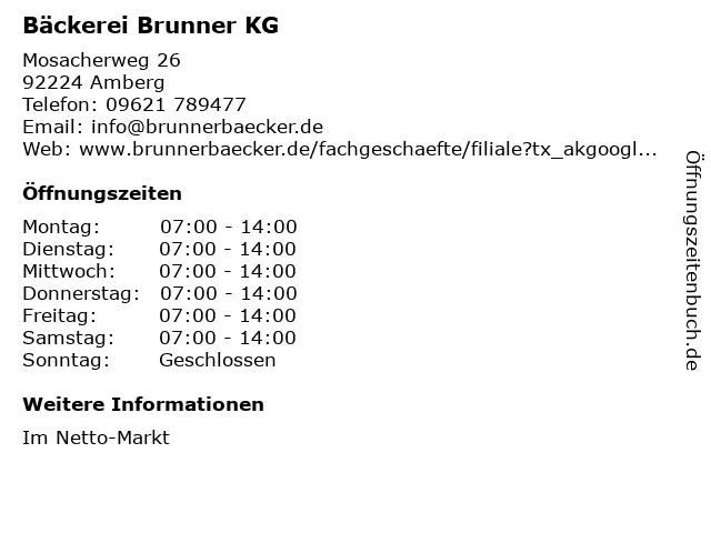 Bäckerei Brunner KG in Amberg: Adresse und Öffnungszeiten