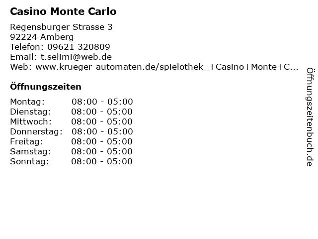 Casino Monte Carlo in Amberg: Adresse und Öffnungszeiten