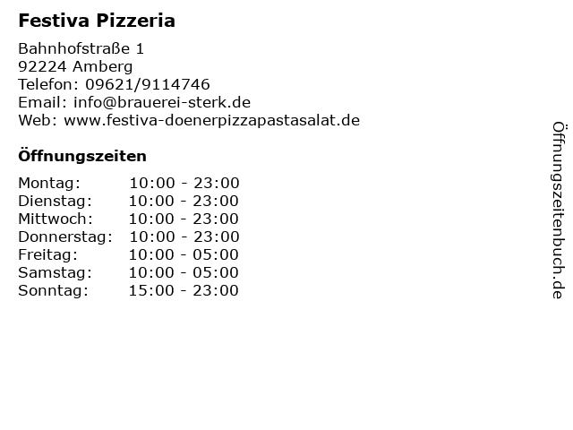 Festiva Pizzeria in Amberg: Adresse und Öffnungszeiten