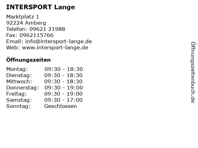 INTERSPORT Lange in Amberg: Adresse und Öffnungszeiten