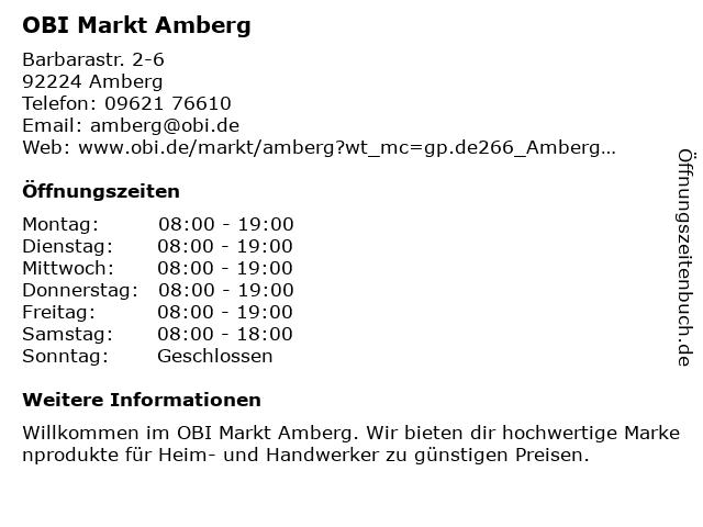 OBI Markt Amberg in Amberg: Adresse und Öffnungszeiten