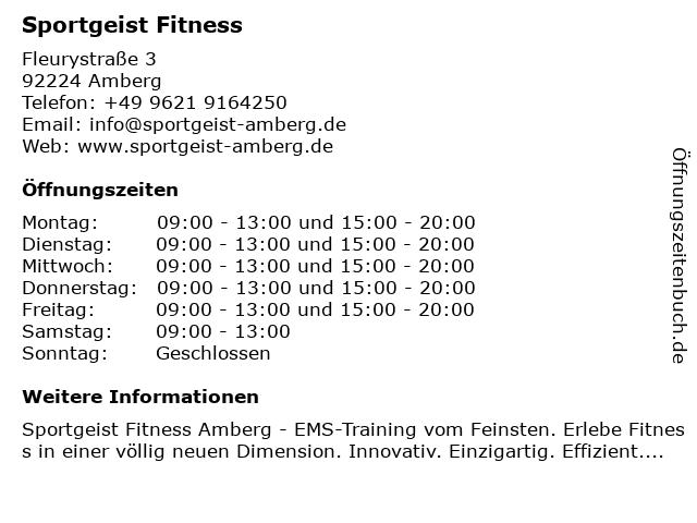 Sportgeist Fitness in Amberg: Adresse und Öffnungszeiten