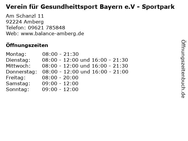 Verein für Gesundheittsport Bayern e.V - Sportpark in Amberg: Adresse und Öffnungszeiten