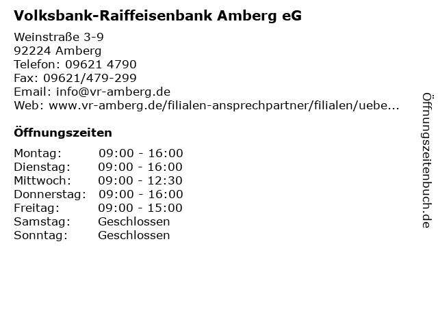 Volksbank-Raiffeisenbank Amberg eG - Filiale Amberg - Weinstraße in Amberg: Adresse und Öffnungszeiten