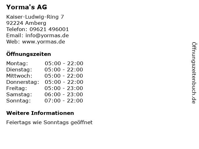 Yorma's AG in Amberg: Adresse und Öffnungszeiten