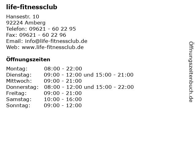 life-fitnessclub in Amberg: Adresse und Öffnungszeiten