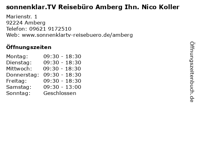 sonnenklar.TV Reisebüro Amberg Ihn. Nico Koller in Amberg: Adresse und Öffnungszeiten
