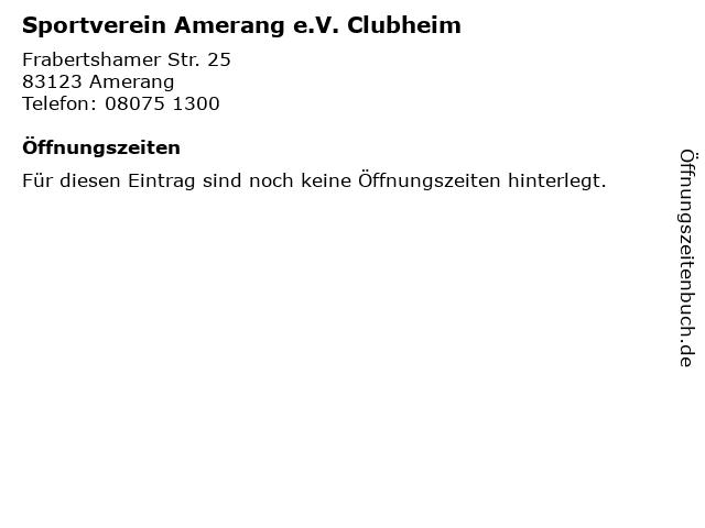 Sportverein Amerang e.V. Clubheim in Amerang: Adresse und Öffnungszeiten