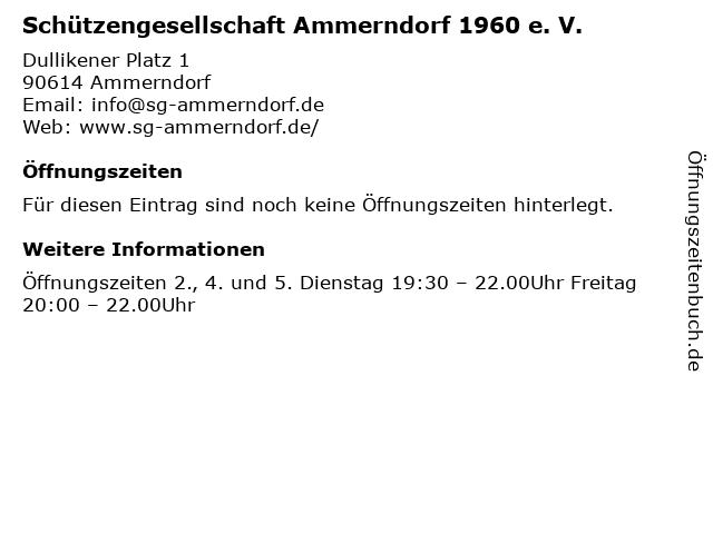 Schützengesellschaft Ammerndorf 1960 e. V. in Ammerndorf: Adresse und Öffnungszeiten