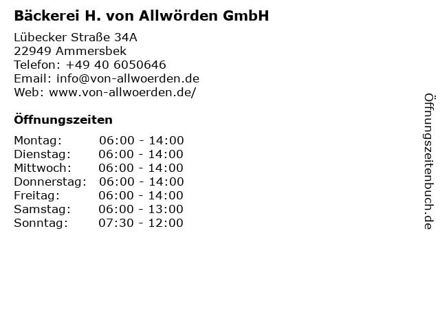H. von Allwörden GmbH in Ammersbek: Adresse und Öffnungszeiten