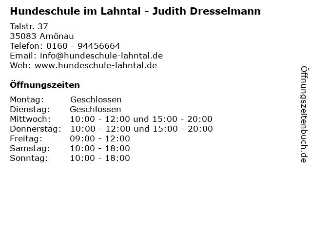 Hundeschule im Lahntal - Judith Dresselmann in Amönau: Adresse und Öffnungszeiten