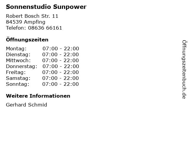 Sonnenstudio Sunpower in Ampfing: Adresse und Öffnungszeiten