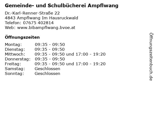 Gemeinde- und Schulbücherei Ampflwang in Ampflwang Im Hausruckwald: Adresse und Öffnungszeiten