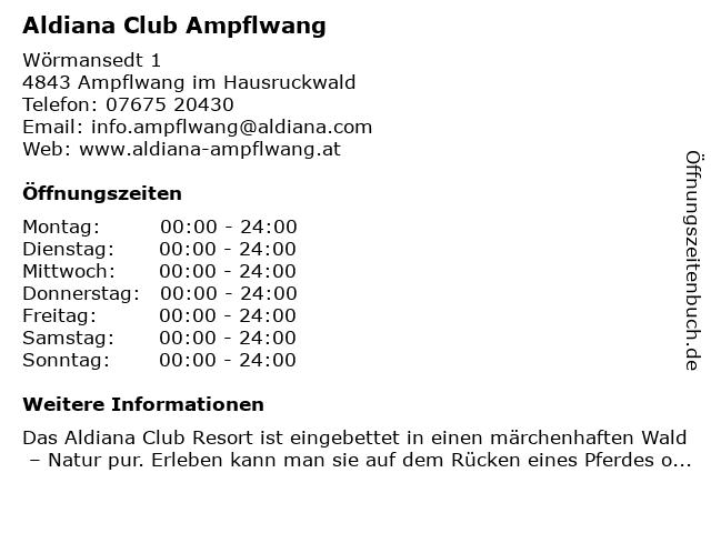 Aldiana Club Ampflwang in Ampflwang im Hausruckwald: Adresse und Öffnungszeiten