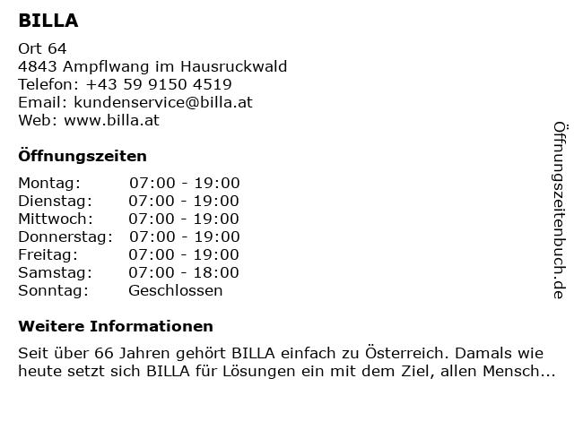 Billa in Ampflwang: Adresse und Öffnungszeiten