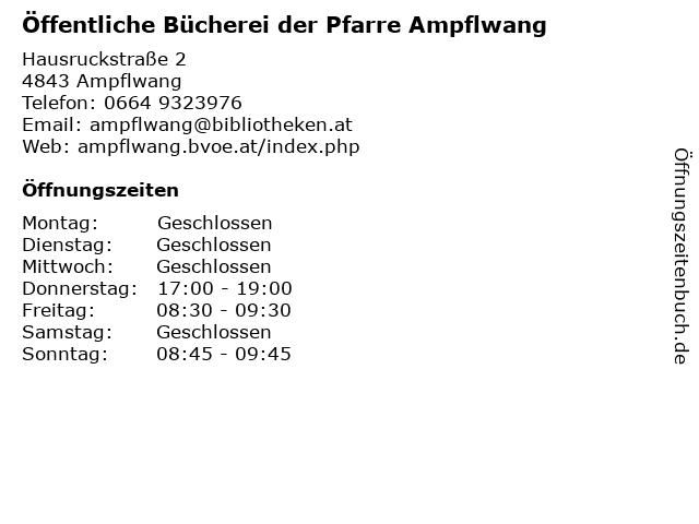 Pfarre Ampflwang (Bibliothek) in Ampflwang: Adresse und Öffnungszeiten