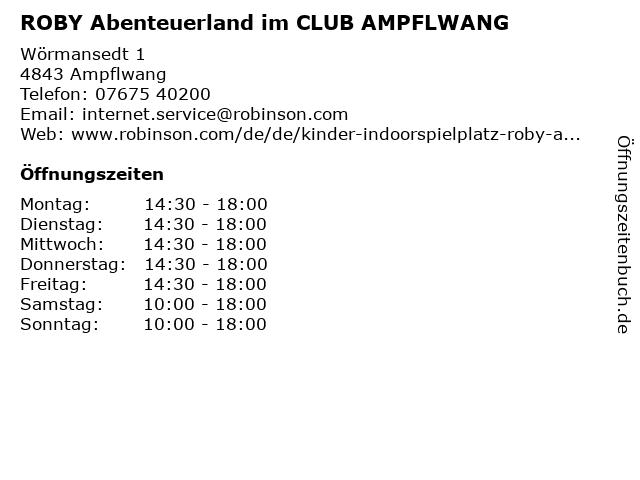 ROBY Abenteuerland im CLUB AMPFLWANG in Ampflwang: Adresse und Öffnungszeiten