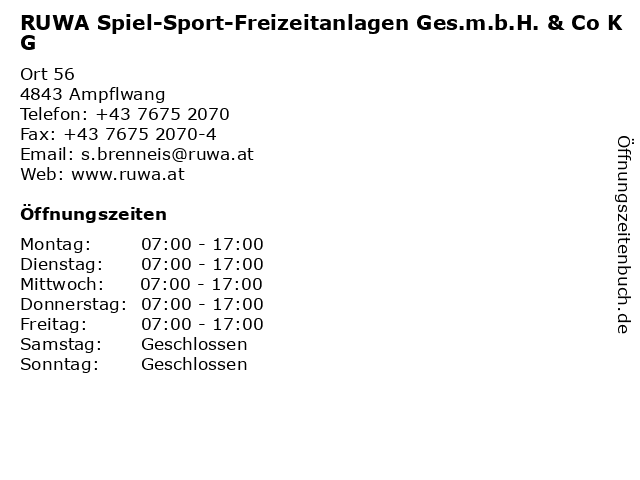 RUWA Spiel-Sport-Freizeitanlagen Ges.m.b.H. & Co KG in Ampflwang: Adresse und Öffnungszeiten