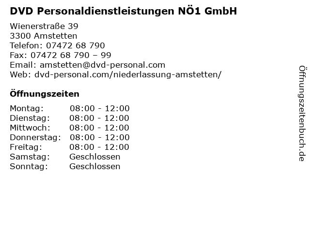 DVD Personaldienstleistungen NÖ1 GmbH in Amstetten: Adresse und Öffnungszeiten