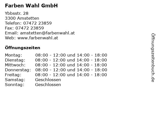 Farben Wahl GmbH in Amstetten: Adresse und Öffnungszeiten