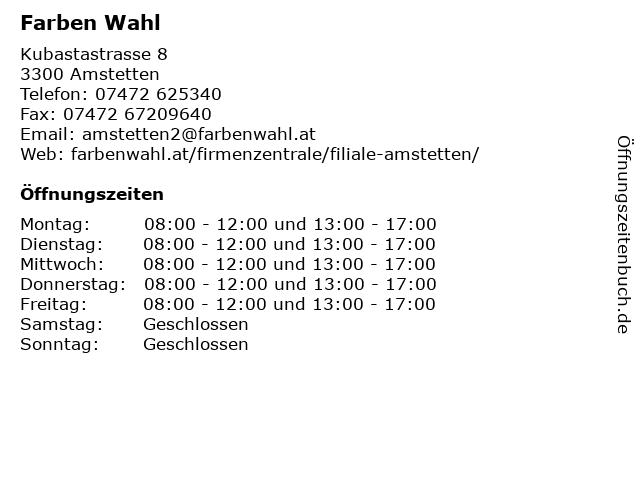 Farben Wahl in Amstetten: Adresse und Öffnungszeiten