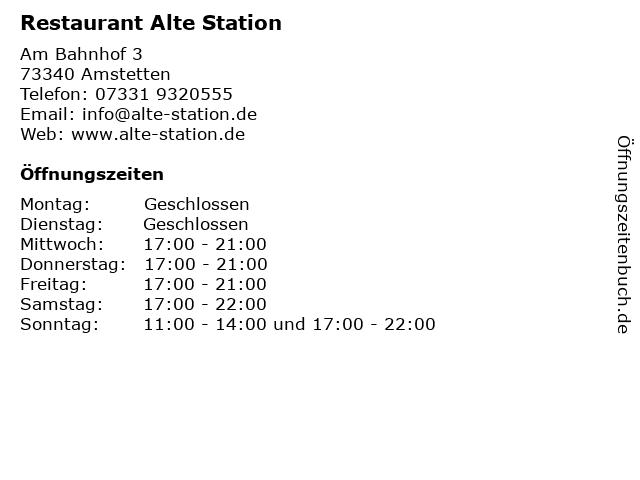 Restaurant Alte Station in Amstetten: Adresse und Öffnungszeiten