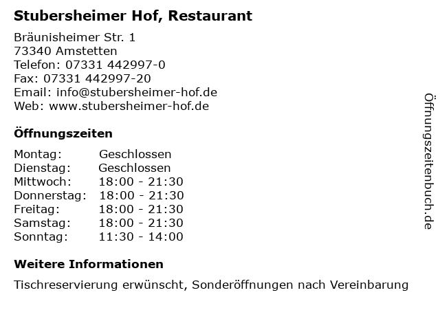 Stubersheimer Hof, Restaurant in Amstetten: Adresse und Öffnungszeiten