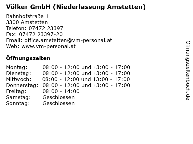 Völker GmbH (Niederlassung Amstetten) in Amstetten: Adresse und Öffnungszeiten