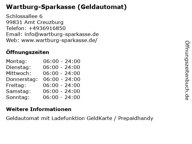 Wartburg-Sparkasse (Geldautomat) in Amt Creuzburg: Adresse und Öffnungszeiten