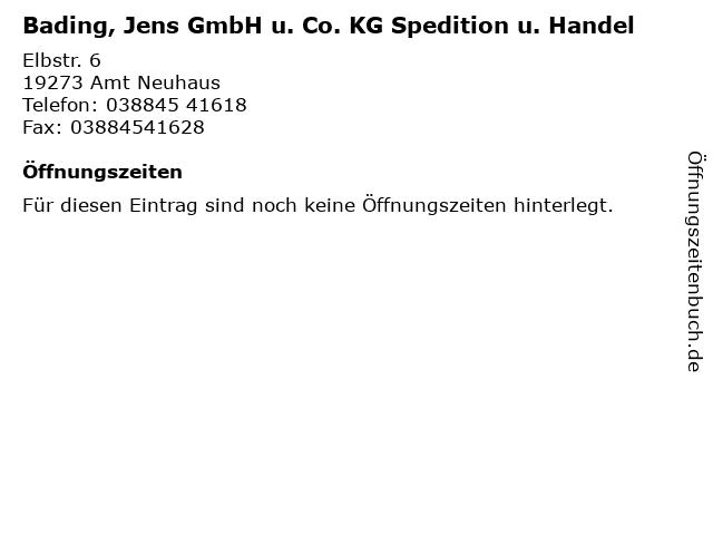 Bading, Jens GmbH u. Co. KG Spedition u. Handel in Amt Neuhaus: Adresse und Öffnungszeiten