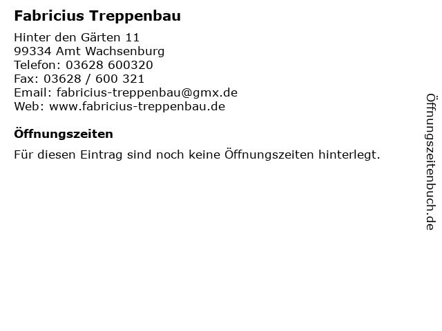 Fabricius Treppenbau in Amt Wachsenburg: Adresse und Öffnungszeiten