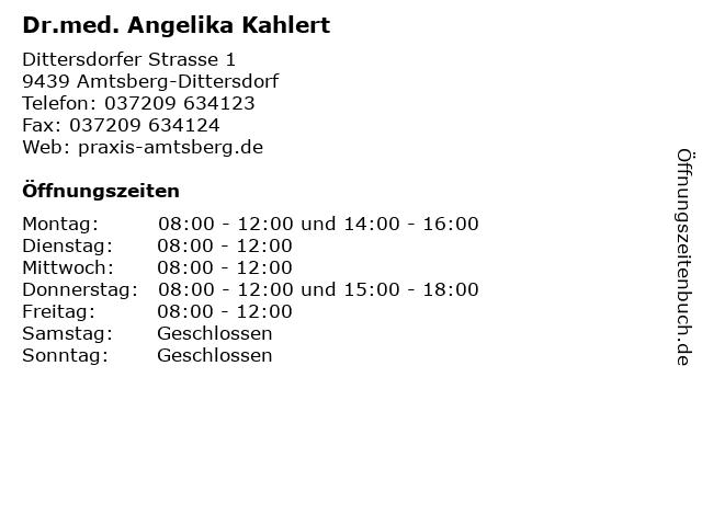 Dr.med. Angelika Kahlert in Amtsberg-Dittersdorf: Adresse und Öffnungszeiten