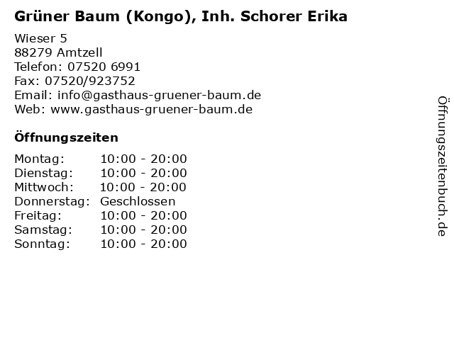Grüner Baum (Kongo), Inh. Schorer Erika in Amtzell: Adresse und Öffnungszeiten