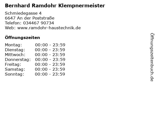 Bernhard Ramdohr Klempnermeister in An der Poststraße: Adresse und Öffnungszeiten