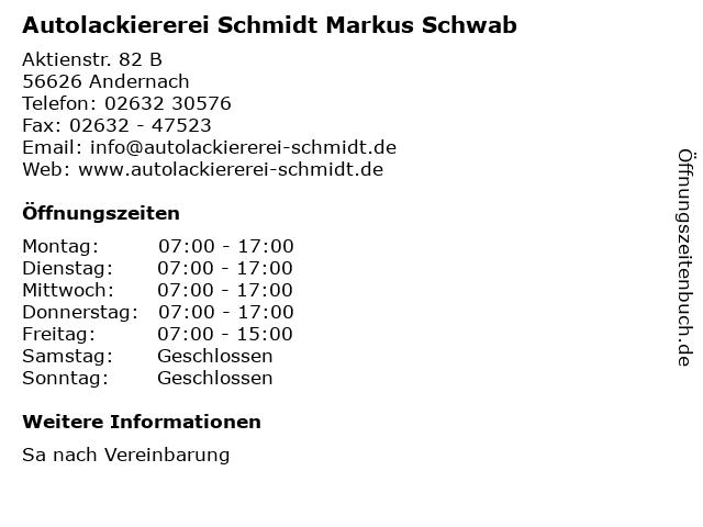 Autolackiererei Schmidt Markus Schwab in Andernach: Adresse und Öffnungszeiten